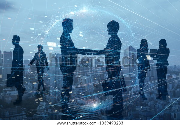 Silhouettes of group of businessperson. Global business network concept.