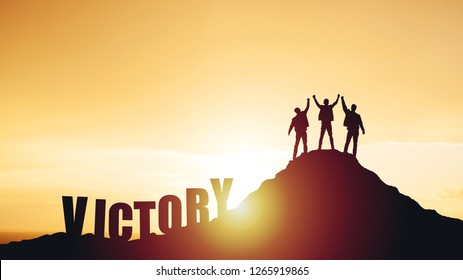 Silhouettes of happy three people on top of a mountain. Success and achievements, Business, work in a team, cooperation.