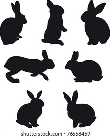 silhouettes of hare and rabbit on white background. Illustration