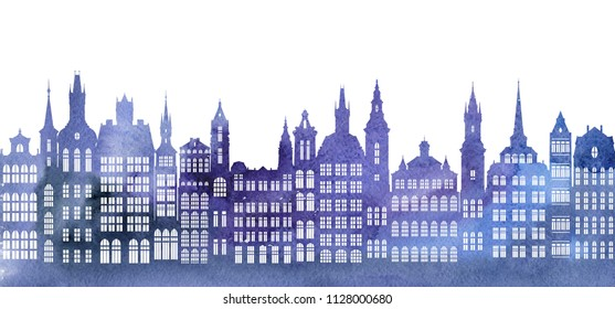 silhouettes of houses, urban watercolor background, old european city, hand drawn illustration