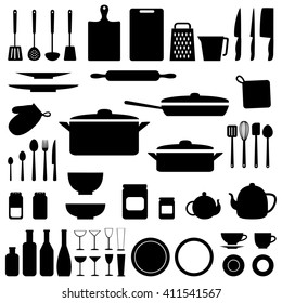 silhouettes of kitchen tools and utensil in black color. Raster version