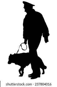 Silhouettes of man with a dog on a leash on a white background