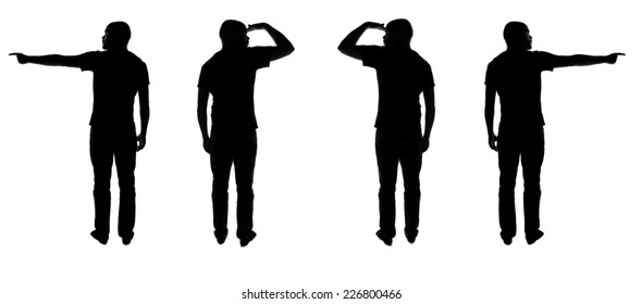 Silhouettes of men showing directions and looking where to go.