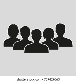 silhouettes of men and women on a gray background