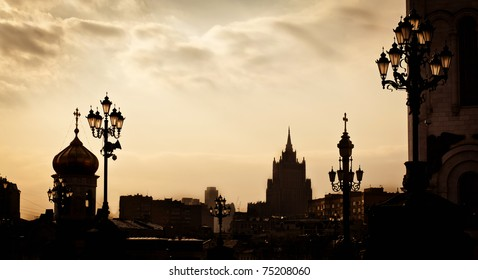 Silhouettes of Moscow city on sundown