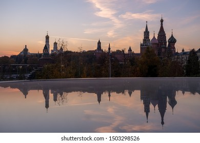 Silhouettes of the Moscow Kremlin at sunset , view from Zaryadye Park
