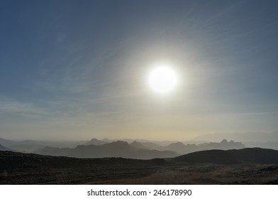 Silhouettes of the mountains in Oman