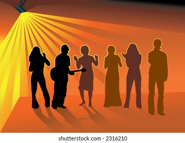 Silhouettes of Musician with guitar and his friends dancing in nightclub (vector)