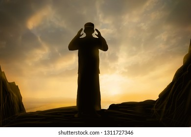Silhouettes Muslim prayer Concept of Islam is the religion.