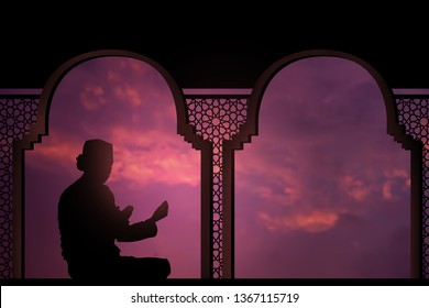 Silhouettes Muslim prayer,the light of faith, hope, faith, supplication,Concept of Islam is the religion, Young Muslim man praying mosque