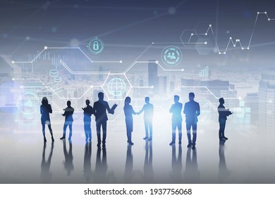 Silhouettes of office white collars with planners and papers on digital surface. Data icons, graphs and personal information as hologram. Concept of teamwork and communication. New York on background