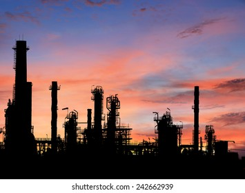 Silhouettes Oil refinery at sunrise