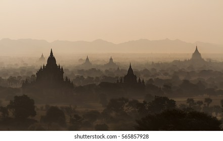 Silhouettes of old temples before sunrise in Bagan, Myanmar