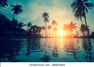 Silhouettes of palm trees reflected in the water on a tropical beach at dusk.