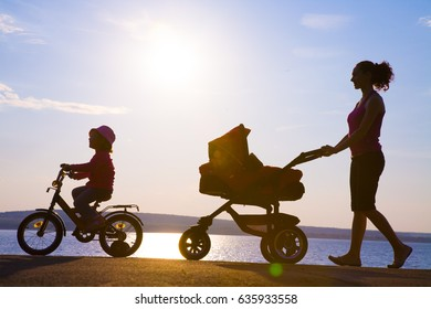 Silhouettes of parents walk with small children with a stroller