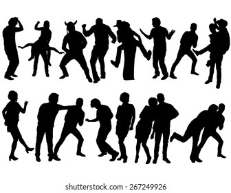 The silhouettes of people dancing