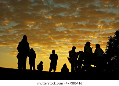 Silhouettes of people on the mountain at Doi Samur Dow,Nan,Thailand