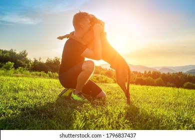 Silhouetten von Läufer und Hund auf dem Feld unter goldenem Sonnenuntergang Himmel in der Abendzeit. Outdoor läuft. Athletischer junger Mann mit seinem Hund macht Spaß in der Natur.