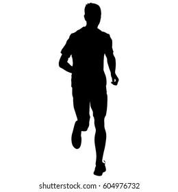 Silhouettes. Runners on sprint men illustration.