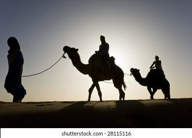 silhouettes in sahara