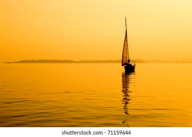 silhouettes of sailboat at sunset, Balaton