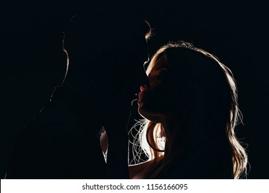 silhouettes of sensual heterosexual couple kissing in dark
