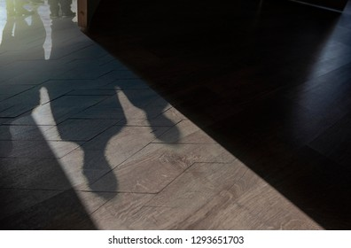 Silhouettes and Shadows of People on the floor with open Door
