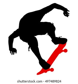 Silhouettes a skateboarder performs jumping. illustration.