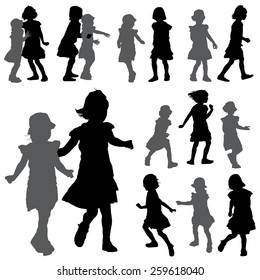 Silhouettes of small girls on the white background for your design