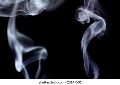 silhouettes in smoke