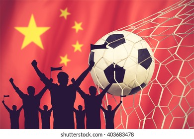 silhouettes of Soccer fans with flag of China .Cheer Concept vintage color
