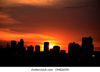 Silhouettes Sunset in the City.