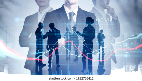Silhouettes of three businesspeople working and researching the analytics to predict stock market behaviour. CEO in front view holding crossed hands. New York on background. Double exposure