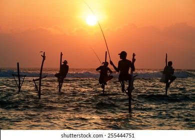 Silhouettes of the traditional fishermen at the sunset not far from Galle in Sri Lanka.