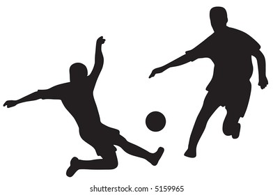 Silhouettes of two soccer players with ball