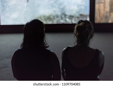 Silhouettes of two women watching a video exhibit.