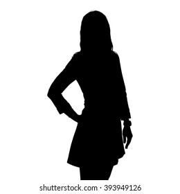 Silhouettes of the upper portion of a female with long hair wearing a skirt and boots with one hand placed firmly on her hip standing slightly sideways..