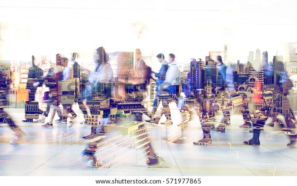 Silhouettes of walking people. Multiple exposure blurred image. Business concept illustration.