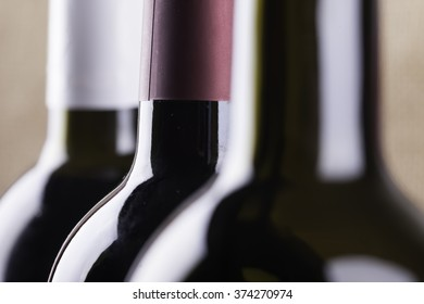 silhouettes of wine bottles closeup