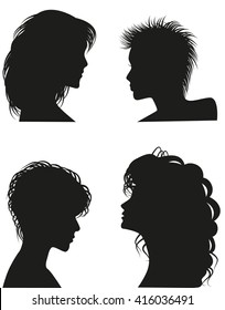 Silhouettes of women hairstyles.