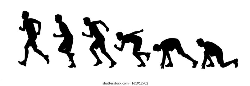 silhouettes of a young man starting running a marathon