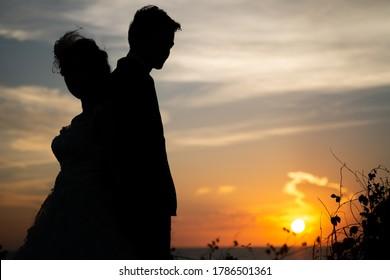 silhoutte prewedding photos on afternoon at Koh Si Chang, Chon Buri, Thailand