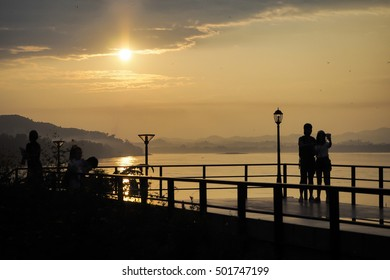 Silhuettes tourist view point sunset.Changkhan in loei thailand.
