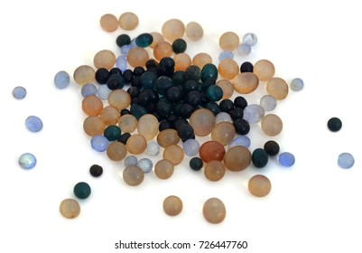 Silica gel  used as absorbent of moisture over white background