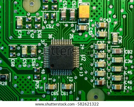 silicon chip soldered green printed circuit stock photo edit now rh shutterstock com Printed Circuit Board Mask Circuit Board Resistors