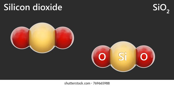 Silicon dioxide(molecular formula: SiO2 or O2Si), is an oxide of silicon with the chemical formula SiO2, most commonly found in nature as quartz. solated on dark background. 3D illustration.