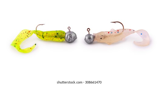 Silicon Fishing Baits (Twisters) with hooks on white. Clipping path included.