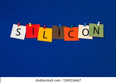 Silicon – one of a complete periodic table series of element names - educational sign or design for teaching chemistry.