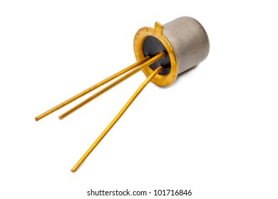 The silicon transistor on a white background