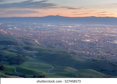 Silicon Valley and Green Hills at Dusk. Monument Peak, Ed R. Levin County Park, Santa Clara County, California, USA.